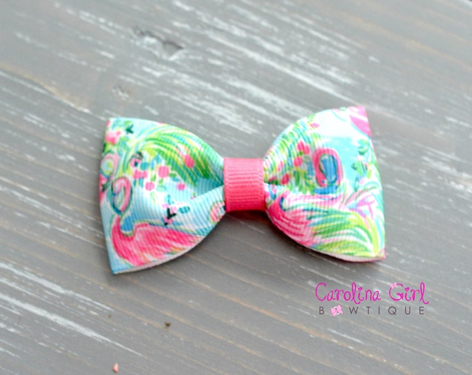"Floridita Flamingo ~ 3"" Hair Bow Tuxedo Bow ~ Lilly Pulitzer Hair Bow ~ Preppy Hair Bow"