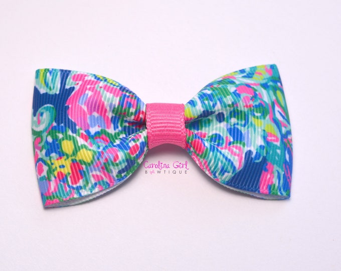 "Exotic Escapade ~ 3"" Hair Bow Tuxedo Bow ~ Lilly Inspired ~ Simple Bow ~ Boutique Bow for Babies Toddlers ~ Girls Hair Bows"