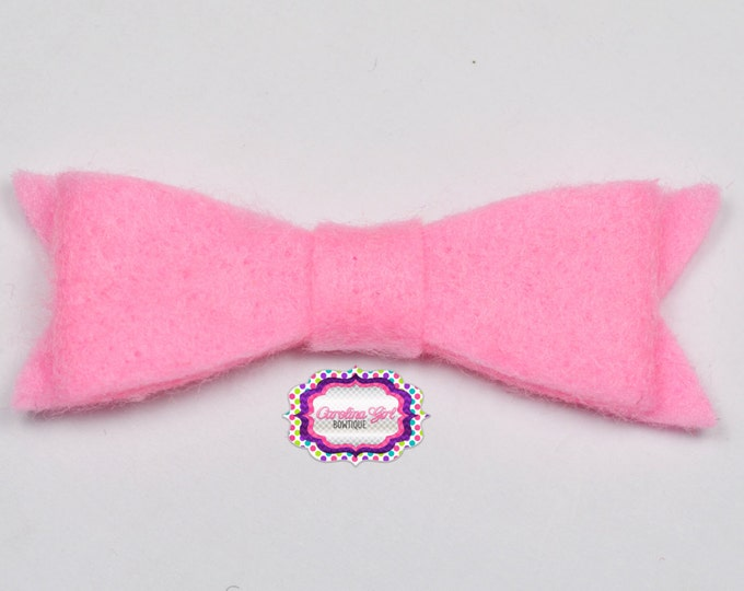 "Hot Pink Felt Tuxedo Bow  ~2"" Hairbow ~Small Bow ~Girls Barrette ~Toddler Bow ~ Baby Hair Bow ~ Hair Clip ~ Girls Hair Bow"