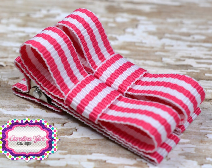 Hot Pink Striped Hair Clips Basic Tuxedo Clips Alligator Non Slip Barrettes for Babies Toddler Girl Set of 2