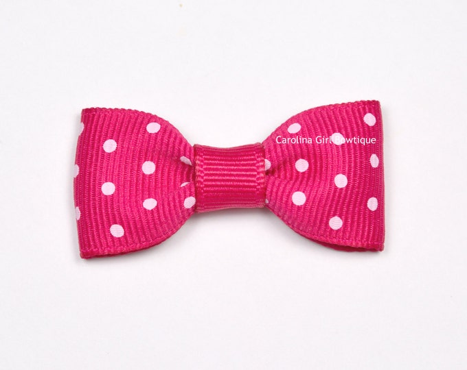Shocking Pink Dots Baby Hair Bow ~ 2 in. Bows with No Slip Grip ~ Small Hair Bows Newborns Toddler Girls
