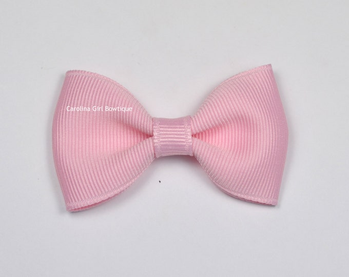 "Light Pink Tuxedo Bow  ~ 2.5"" Hairbow ~ Small Hair Bow ~ Girls Barrette ~ Toddler Bow ~ Baby Hair Bow ~ Hair Clip ~ Girls Hair Bow"