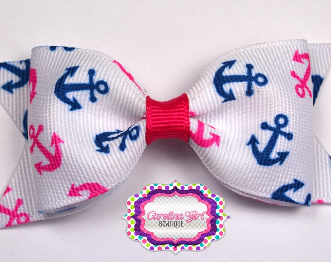 "Anchor Bow ~ 3.5"" Bow ~ No Slip ~ Small HairBow ~ Girls Barrette ~ Toddler Bow ~ Baby Hair Bow ~ Hair Clip ~ Girls Hair Bow"