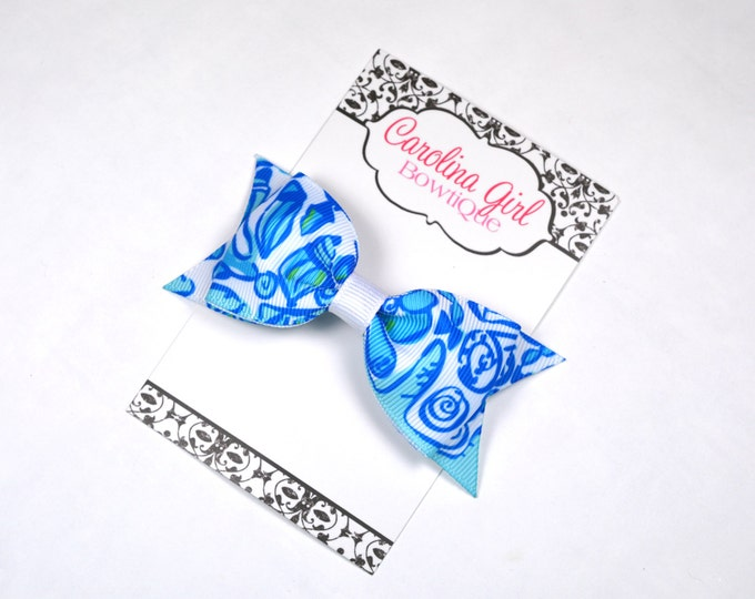 "Sailors Valentine ~ 3.5"" Hairbow ~ Lilly Inspired ~ Small Hair Bow ~ Girls Barrette ~ Toddler Bow ~ Hair Clip ~ Girls Hair Bow"