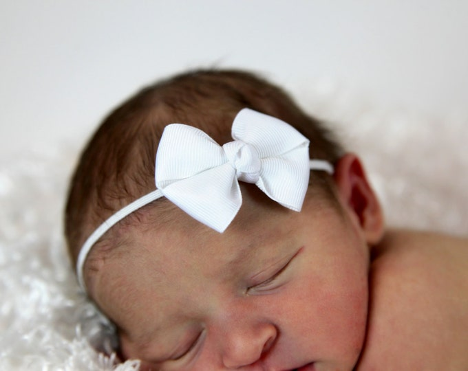 5 Newborn Headband - 2 in. Bitty Bow on an Elastic Headband - Girls Hair Bows - Baby Headband