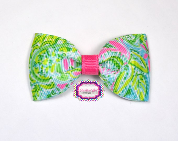 """Lilly Pulitzer Hair Bow ~ Coconut Jungle ~ 3"""" Hair Bow Tuxedo Bow ~ Lilly Inspired ~ Boutique Bow for Babies Toddlers ~ Girls Hair Bows"""