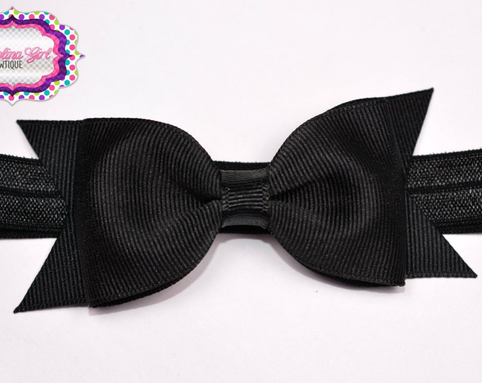 "Black Tuxedo Bow Headband  ~ 3.5"" Hairbow ~ Small Hair Bow ~ Girls Headband ~ Toddler Bow ~ Baby Hair Bow ~ Hair Clip ~ Girls Hair Bow"