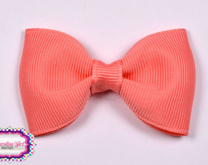"""Coral 2.5"""" Hair Bow Tuxedo Bow Simple Bow Boutique Bow for Babies Toddlers Girls Hair Bows"""