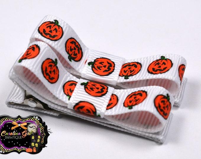 Halloween Pumpkins Hair Clips Basic Tuxedo Clips Alligator Non Slip Barrettes for Babies Toddler Girl Set of 2