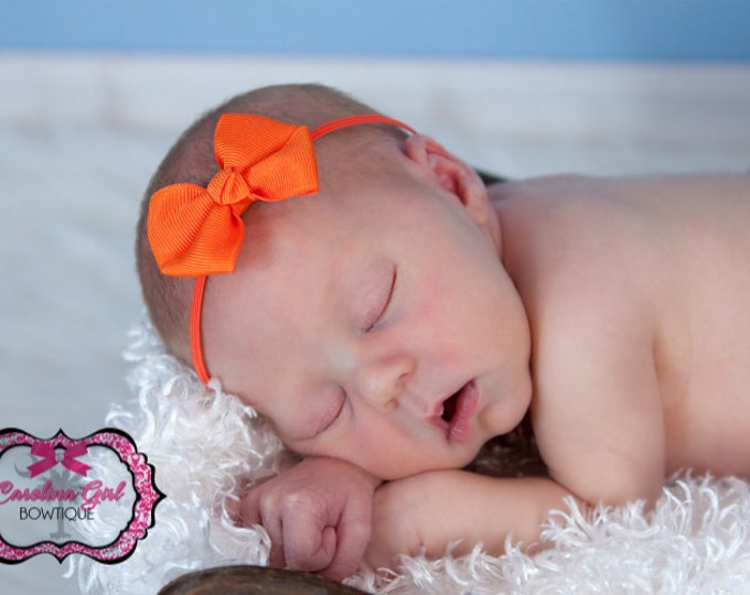Orange Newborn Headband - 2 in. Bitty Bow on an Elastic Headband - Girls Hair Bows - Baby Headband