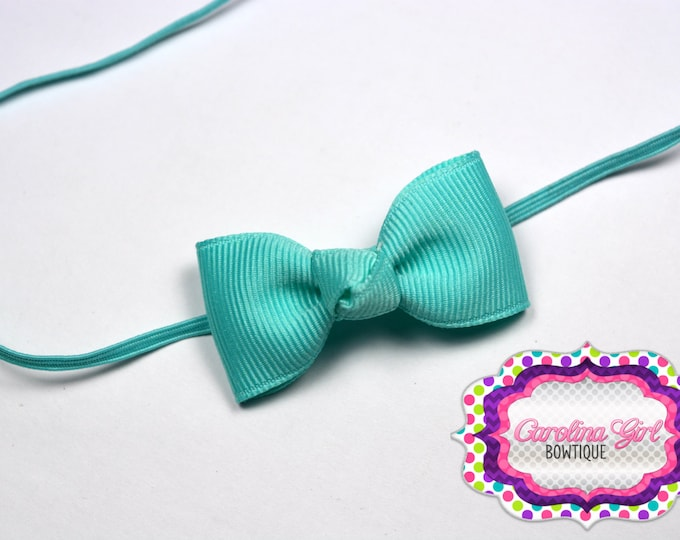 Aqua Newborn Headband - Small Headband withTiny Bow on Skinny Elastic - Girls Hair Bows