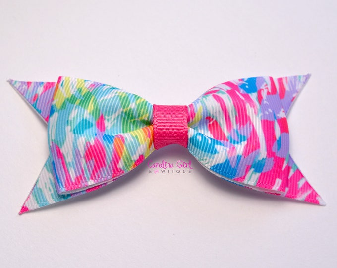 """Sparkling Sands Bow ~ 3.5"""" Hairbow ~ Lilly Inspired ~ Small Hair Bow ~ Girls Barrette ~ Toddler Bow ~ Hair Clip ~ Girls Hair Bow"""