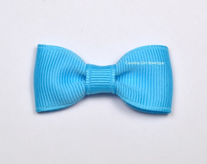 Mystic Blue Baby Hair Bow ~ 2 in. Bow with No Slip Grip ~ Small Hair Bows Newborns Toddler Girls