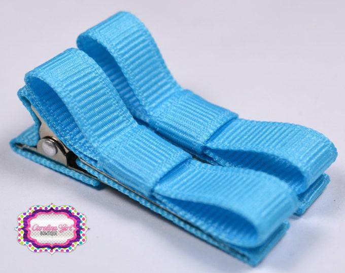 Mystic Blue Hair Clips Basic Tuxedo Clips Alligator Non Slip Barrettes for Babies Toddler Girl Set of 2