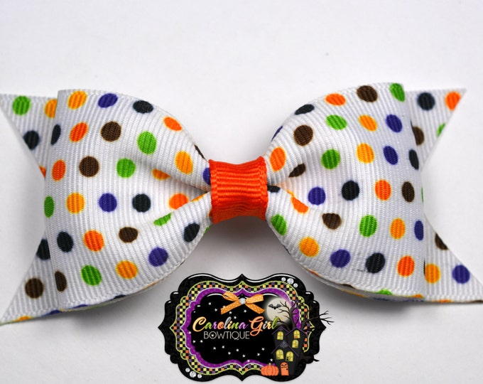 "Halloween Mini Dots Tuxedo Bow ~ 3.5"" Hairbow ~ Small Hair Bow ~ Girls Barrette ~ Toddler Bow ~ Halloween Hairbow ~ Girls Hair Bow"