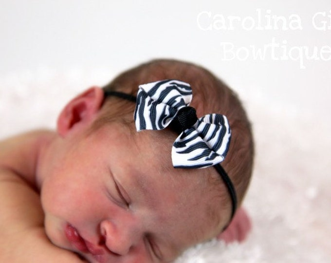 Zebra Newborn Headband - 2 in. Bitty Bow on an Elastic Headband - Girls Hair Bows - Baby Headband