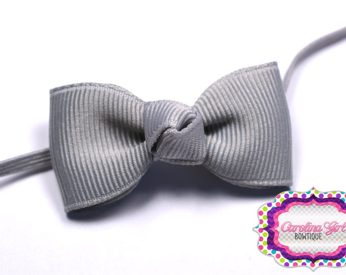 Millenium Silver Newborn Headband - Small Headband Tiny Bow on Skinny Elastic - Girls Hair Bows
