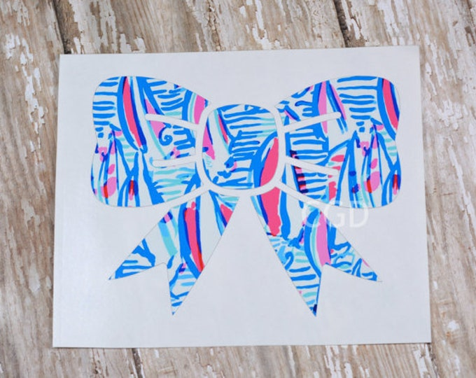 Lilly Pulitzer Inspired Bow Decal ~ Yeti Decal ~ Lilly Car Decal ~ Lilly Decal ~ Lilly Sticker