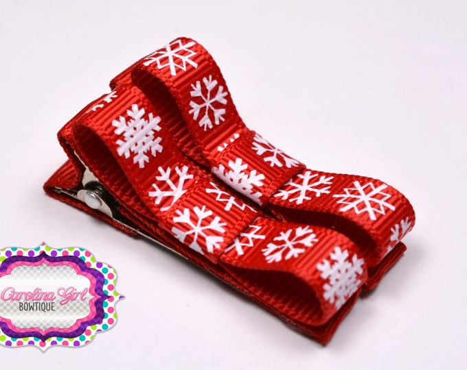 Red Snowflakes Hair Clips Basic Tuxedo Clips Alligator Non Slip Barrettes for Babies Toddler Girl Set of 2