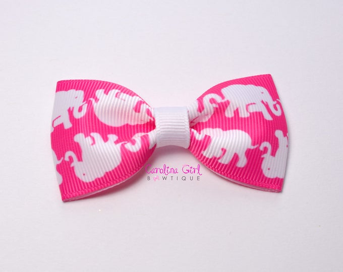 "Tusk in Sun Pop Pink ~ 3"" Hair Bow Tuxedo Bow ~ Lilly Inspired ~ Simple Bow ~ Boutique Bow for Babies Toddlers ~ Girls Hair Bows"