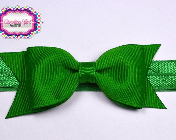 """Emerald Green Tuxedo Bow Headband ~3.5"""" Hairbow ~ Small Hair Bow ~ Girls Headband ~ Toddler Bow ~ Baby Hair Bow ~ Hair Clip ~ Girls Hair Bow"""