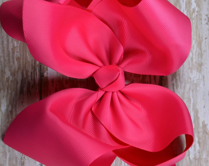 6 in. Shocking Pink  Boutique  Hair Bow - XL Hair Bow - Big Hair Bows - Girl Hair Bows