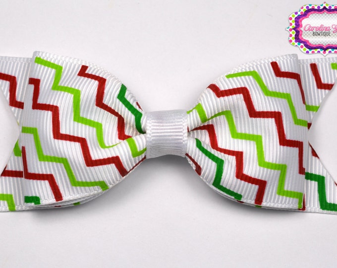 "Christmas Zig Zag Tuxedo Bow  ~ 3.5"" Hairbow ~ Small Hair Bow ~ Girls Barrette ~ Toddler Bow ~ Baby Hair Bow ~ Hair Clip ~ Girls Hair Bow"