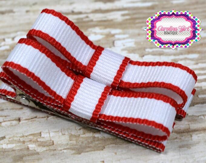 Red & White  Hair Clips Basic Tuxedo Clips Alligator Non Slip Barrettes for Babies Toddler Girl Set of 2
