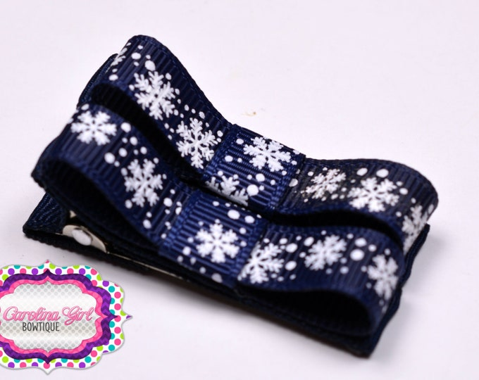 Navy Snowflakes Hair Clips Basic Tuxedo Clips Alligator Non Slip Barrettes for Babies Toddler Girl Set of 2