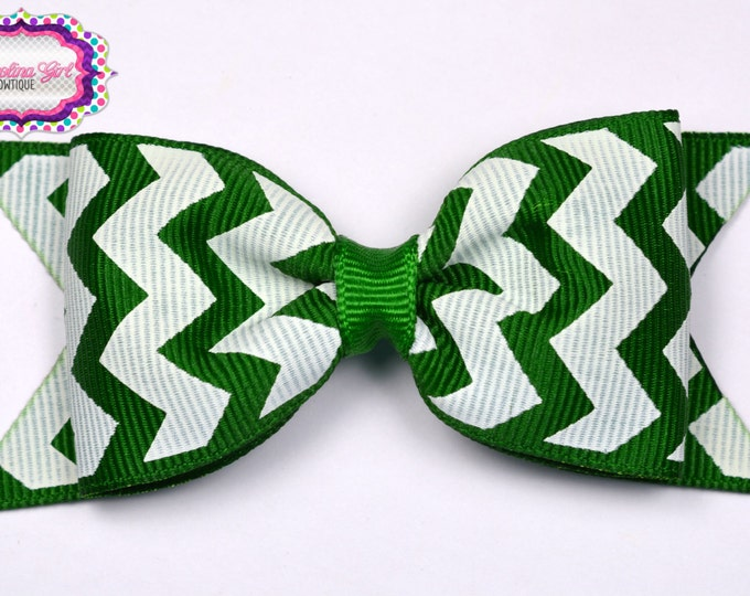 "Emerald Chevron Tuxedo Bow  ~ 3.5"" Hairbow ~ Small Hair Bow ~ Girls Barrette ~ Toddler Bow ~ Baby Hair Bow ~ Hair Clip ~ Girls Hair Bow"