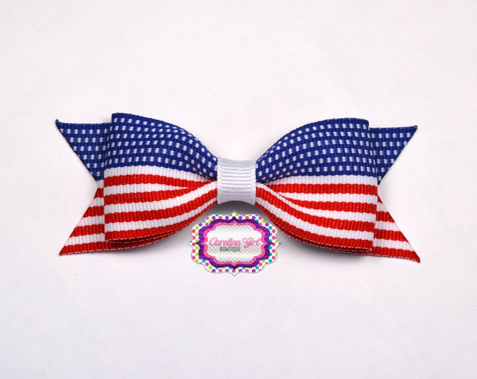 "Patriotic Tuxedo Bow ~ 3.5"" Hairbow ~ Small Hair Bow ~ Girls Barrette ~ Toddler Bow ~ Baby Hair Bow ~ Hair Clip ~ Girls Hair Bow"