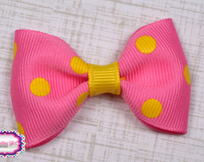 "Pink with Yellow Dots Tuxedo Bow ~ 2.5"" Hairbow ~ Small Hair Bow ~ Girls Barrette ~ Toddler Bow ~ Baby Hair Bow ~ Hair Clip ~ Girls Hair Bow"