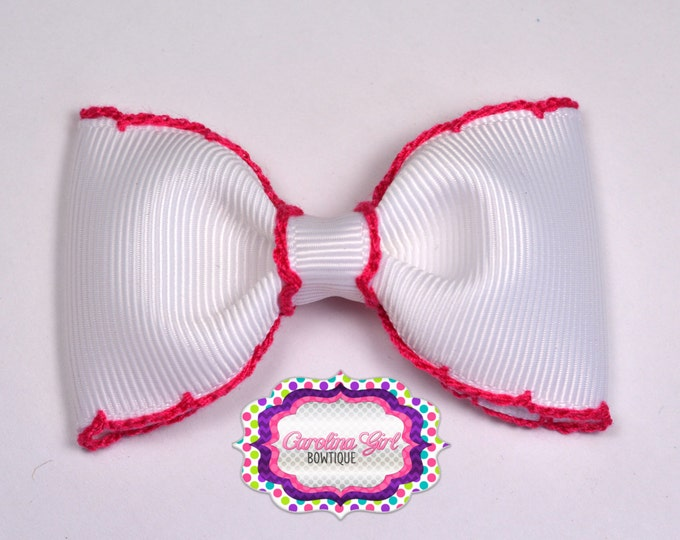 "White w/ Shocking Pink Stitching 3"" Hair Bow Tuxedo Bow Simple Bow Boutique Bow for Babies Toddlers Girls Hair Bows"