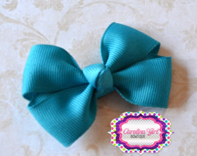 Turquoise Hair Bow 2.5 Inch Pinwheel Boutique Bow for Babies Toddlers Girls Hair Bows