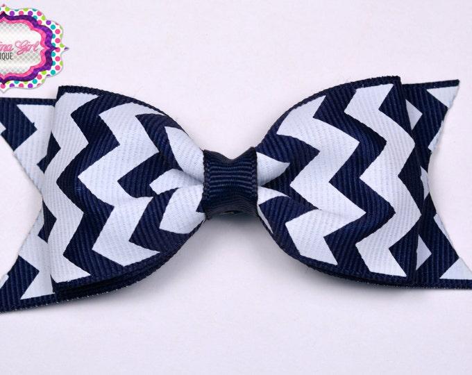 "Navy Chevron Tuxedo Bow  ~ 3.5"" Hairbow ~ Small Hair Bow ~ Girls Barrette ~ Toddler Bow ~ Baby Hair Bow ~ Hair Clip ~ Girls Hair Bow"