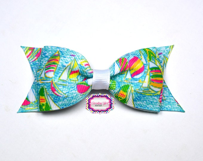 "Lilly Pilitzer Hair Bow ~ You Gotta Regatta ~ 3.5"" Hairbow ~ Lilly Inspired ~ Girls Barrette ~ Toddler Bow ~ Hair Clip ~ Girls Hair Bow"