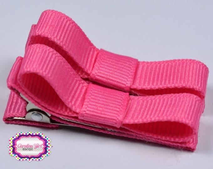 Hot Pink Hair Clips Basic Tuxedo Clips Alligator Non Slip Barrettes for Babies Toddler Girl Set of 2