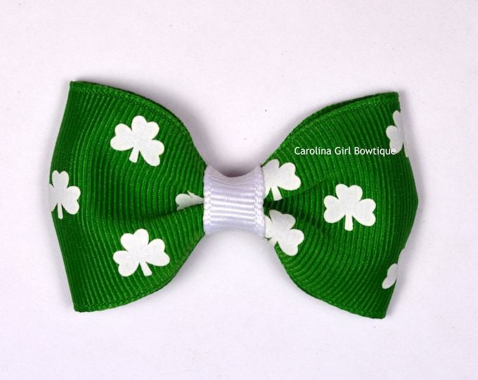 "St Patricks Day   2.5"" Hair Bow Tuxedo Bow Simple Bow Boutique Bow for Babies Toddlers Girls Hair Bows"