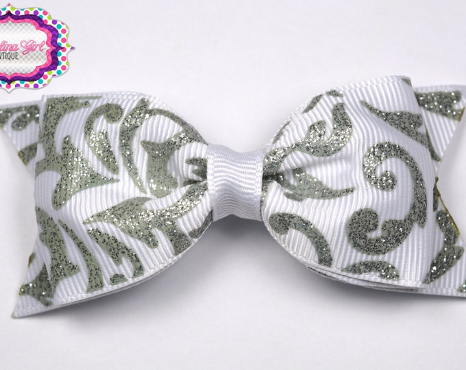 "White w/ Silver Damask Tuxedo Bow ~ 3.5"" Hairbow ~ Small Hair Bow~ Girls Barrette ~ Toddler Bow ~ Baby Hair Bow ~ Hair Clip ~ Girls Hair Bow"