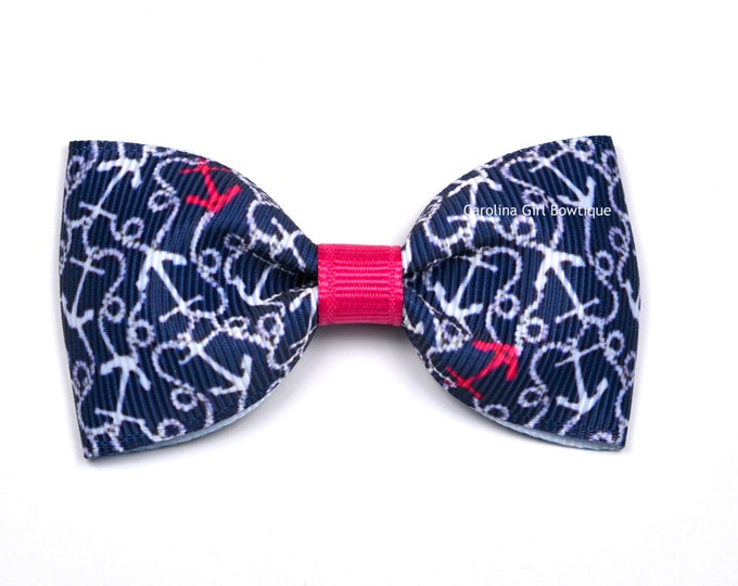 "Ahoy There ~ 3"" Hair Bow Tuxedo Bow ~ Lilly Inspired ~ Simple Bow ~ Boutique Bow for Babies Toddlers ~ Girls Hair Bows"