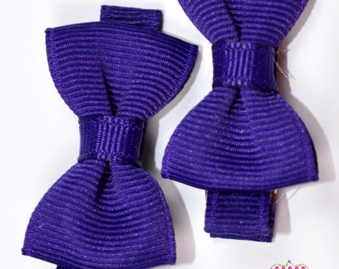 Purple Hair Bow Set of 2 Small Hairbows - Girls Hair Bows - Clippies - Baby Hair Bows - Mini hair Bow Set