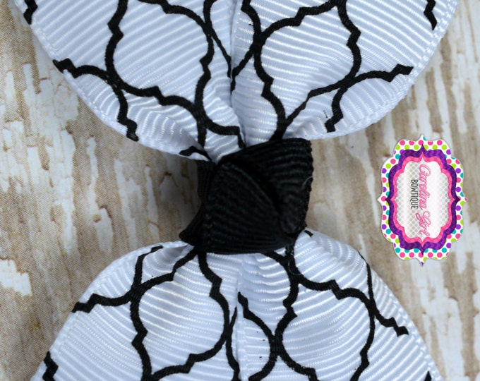 Black Quatrefoil Hair Bow 2.5 Inch Pinwheel Boutique Bow for Babies Toddlers Girls Hair Bows