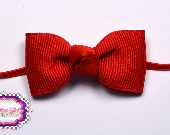 Red Newborn Headband - Small Headband Red Tiny Bow on Skinny Elastic - Girls Hair Bows