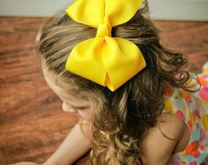 6 in. Yellow Hair Bow - XL Hair Bow - Big Hair Bows - Girl Hair Bows