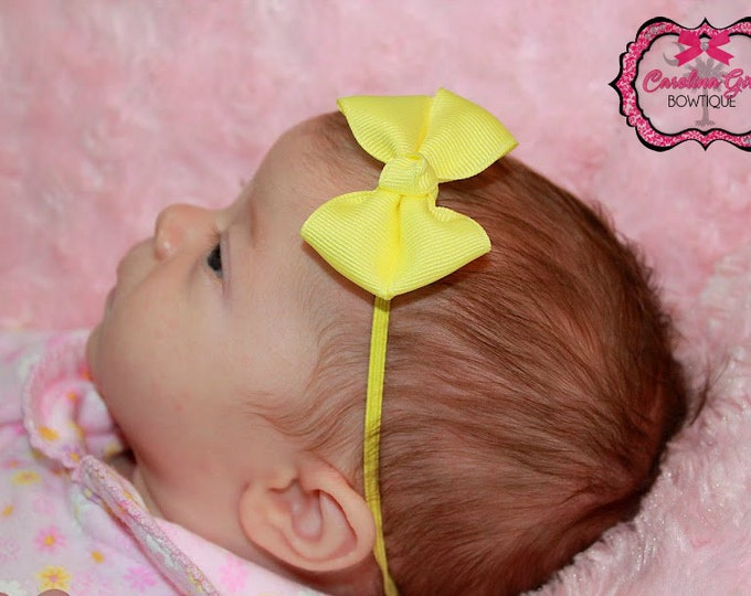 Maize Light Yellow Newborn Headband - 2 in. Bitty Bow on an Elastic Headband - Girls Hair Bows - Baby Headband