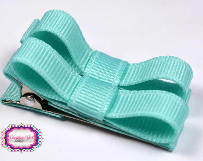 Aqua Hair Clips Basic Tuxedo Clips Alligator Non Slip Barrettes for Babies Toddler Girl Set of 2