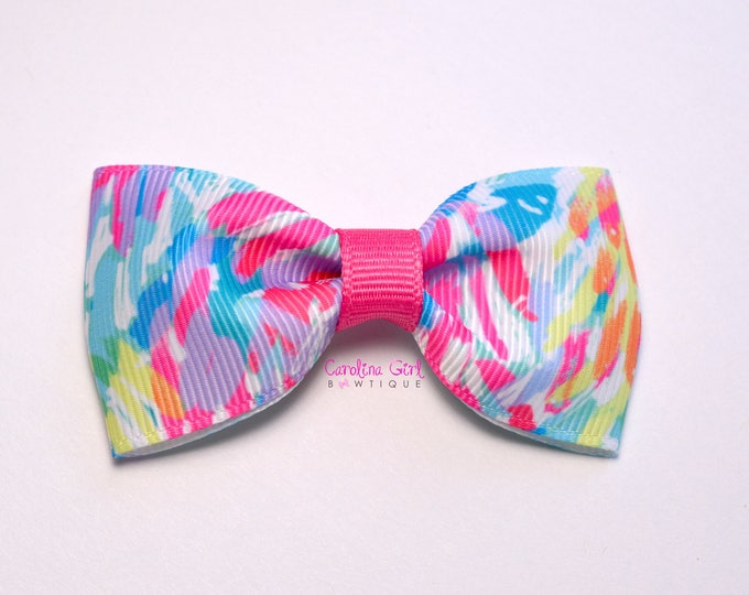 "Sparkling Sands ~ 3"" Hair Bow Tuxedo Bow ~ Lilly Inspired ~ Simple Bow ~ Boutique Bow for Babies Toddlers ~ Girls Hair Bows"
