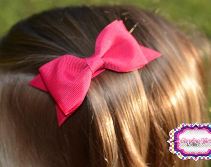 "Hot Pink Tuxedo Bow  ~ 3.5"" Hairbow ~ Small Hair Bow ~ Girls Barrette ~ Toddler Bow ~ Baby Hair Bow ~ Hair Clip ~ Girls Hair Bow"