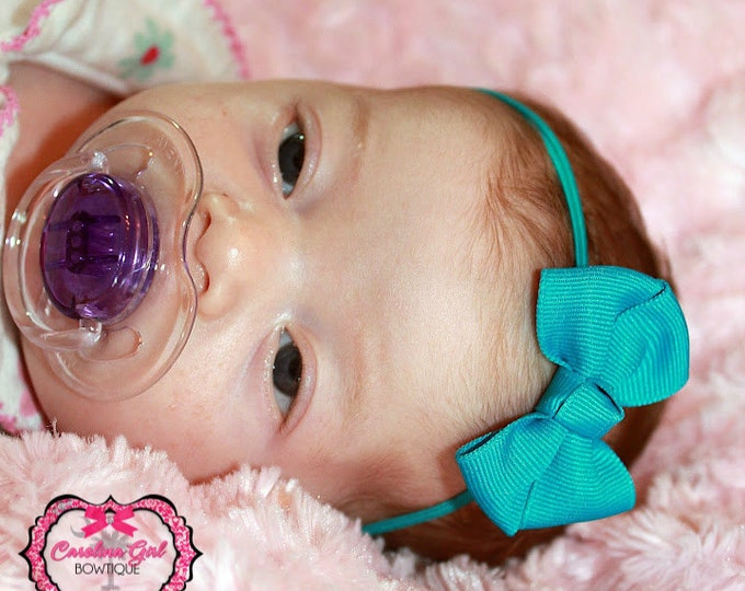 Turquoise Newborn Headband - 2 in. Bitty Bow on an Elastic Headband - Girls Hair Bows - Baby Headband