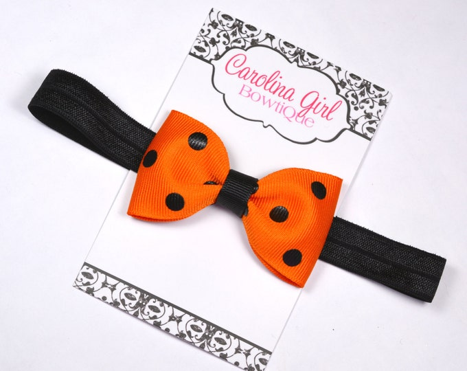 "Halloween Dots Tuxedo Bow Headband ~ 3"" Hairbow ~ Baby Bow  Headband ~ Toddler Bow Headband ~ Infant Headband ~ Fall Halloween"